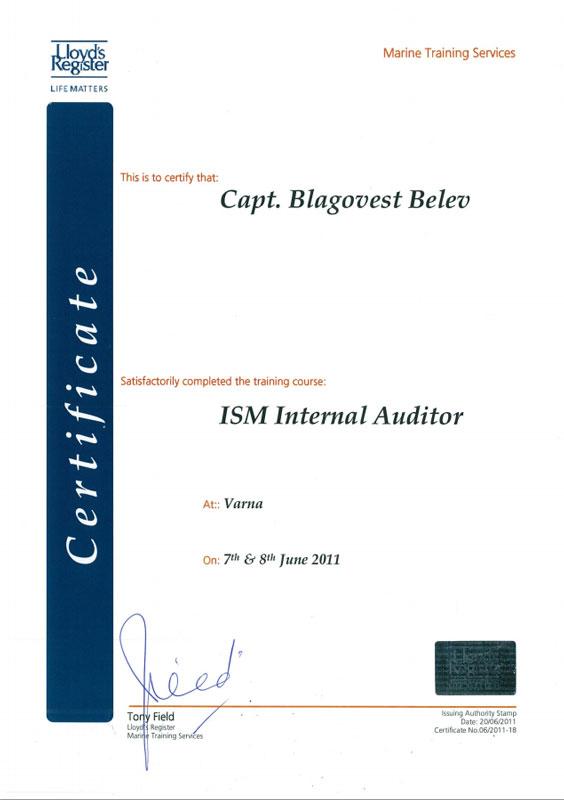 ISM_Internal_Auditor_Belto_Marine