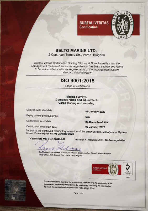 ISO 9001:2015 Belto Marine